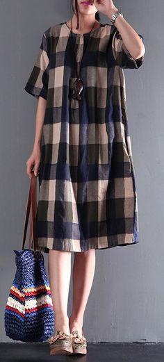 fine blue gray plaid summer dresses loose linen sundresses short sleeve mid-dress