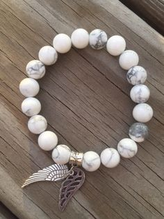 A personal favorite from my Etsy shop https://www.etsy.com/listing/258531880/white-turquoise-howlite-bracelet-with