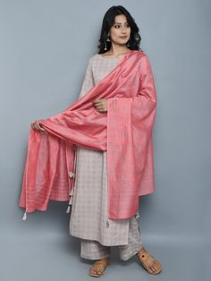 Mauve Block Printed Khadi Kurta and Pants with Pink Chanderi Dupatta - Set of 3 Kurta Designs, Indian Attire, Indian Ethnic Wear, Traditional Fashion, Traditional Dresses, Indian Dresses, Indian Outfits, Pakistani Dresses, Khadi Kurta
