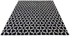 Check hand tufted pure wool rug in black and ivory white with a 12-14mm pile depth. Created using the 'Hexstar' design.