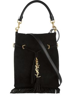 Shop Saint Laurent fringed bucket bag in Jofré from the world's best independent boutiques at farfetch.com. Over 1000 designers from 300 boutiques in one website.