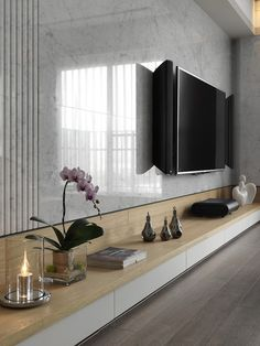 Home Decoration; TV Wall Built In; Living Room Bedroom, Living Room Decor, Bedroom Loft, Girls Bedroom, Tv Wanddekor, Tv Wall Decor, Wall Tv, Muebles Living, Tv Wall Design
