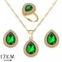 Wish | Wedding Crystal Rhinestone Teardrop Necklace Earring Ring Gem Stone Green Blue Red sets Women's Bohemian Cute Lovely Princess Jewelry Classics Luxury Accessories