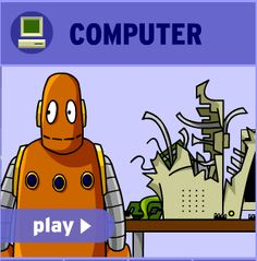 BrainPop animated movies on Computers: How does a computer work? What's the difference between ROM and RAM? What's an operating system? Covers what a central processing unit (CPU) is and how a hard drive operates. Also mentions modems, circuit boards, and sound and video cards.  Related resources look at Data Storage Devices, mice and computer viruses.  Resources include a graded quiz, vocabulary activities and related information pages (subscription needed).