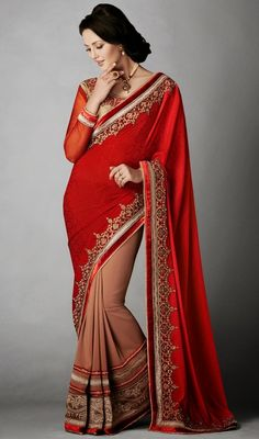 Genuine beauty can come out as a outcome of dressing design with this chocolate and red jacquard crepe silk half n half saree. The charming lace, moti, resham and velvet patch work a significant element of this attire. #StunningEveningSareeCollection
