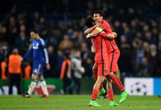 Marquinhos and Thiago Silva of PSG celebrate following their team's victory during the UEFA Champions League round of 16 second leg match between Chelsea and Paris Saint-Germain at Stamford Bridge on March 11, 2015 in London, England.