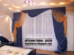 blue bedroom curtains, top types of curtains 2014 for window coverings Latest Curtain Designs, Curtain Decor, Blue Curtains For Bedroom, Curtains, Stylish Drapes, Curtains Bedroom, Curtain Rods, International Decor, Blue Curtains Bedroom