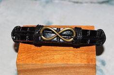bracelet+homme+/+femme+réglable+cuir+et+médaille+de+bronze+++breloque,+amulette+infini+symbole