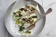 Halibut Stuffed With Kale & Feta Pesto / Image courtesy of Weldon Owen