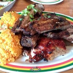 Another BBQ plate from Guam USA ----- BBQ Beef Ribs, BBQ Chicken, and Red Rice