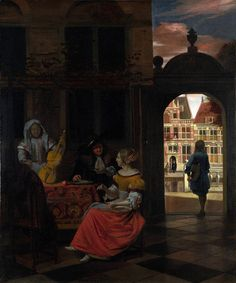 Pieter de Hooch A Musical Party in a Courtyard, 1677 Olio su tela, x cm National Gallery, London Delft, European Paintings, Classic Paintings, Rembrandt, Pieter De Hooch, National Gallery, Art Ancien, Dutch Golden Age, Johannes Vermeer