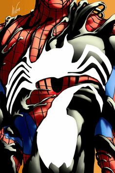 Spiderman with Symbiote Costume Poster. Spiderman Black Suit, Spiderman Art, Amazing Spiderman, Spiderman Symbiote, Marvel Vs, Marvel Dc Comics, Marvel Heroes, Univers Marvel, Stan Lee