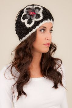 Knit Headband headband with flower black and white knit by Volang