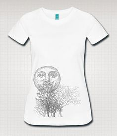 White Moon And Trees Graphic Art by WinkinBitsyClothing on Etsy
