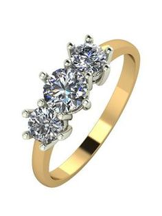 Moissanite 9ct Gold 1 Carat Trilogy Ring, Yellow Gold, Size H, Women – Very – Now £284.00 Was £379