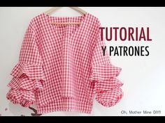 Costura blusa mangas con volantes para mujer (patrones gratis) - YouTube Dress Sewing Patterns, Baby Knitting Patterns, Diy Clothes Tops, Couture, Sewing Hacks, Diy Fashion, Girls Dresses, Ruffle Blouse, Casual