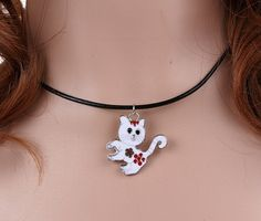 Enamel White Cat Charms Vintage Silver Choker Collar Statement Necklace Pendant DIY Jewelry Women Clothing Accessories  HOT A15