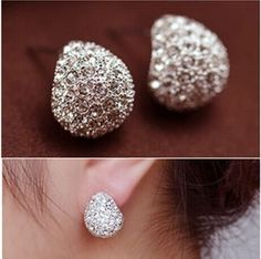 Fashion Accessories Chromophous Sparkling Multicolor Beatles Crescent Stud Earring 2016 for Women E184