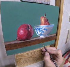 Pears painting demonstration, a still life oil painting demonstration of red pears.