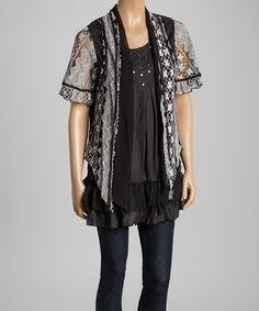 Look at this #zulilyfind! Black & White Embellished Silk-Blend Layered Top #zulilyfinds