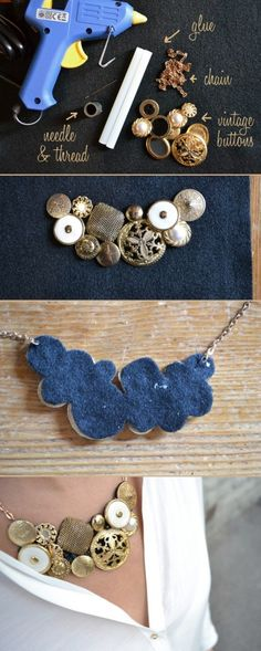 Make your own statement necklace. I like the look of this!
