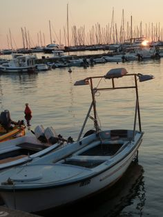 Sunset behind the yachts at Umag Marina, Adriatic