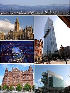 Clockwise from top: cityscape, Beetham Tower, Manchester Civil Justice Centre, Midland Hotel, One Angel Square, Manchester Town Hall