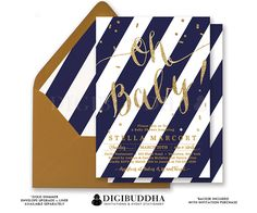 NAVY & GOLD BABY Shower Invitations Oh Baby by digibuddhaPaperie