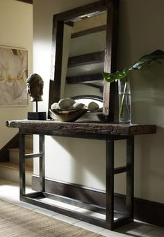 Classic Home Jaden Collection Reclaimed Wood Console Table - From Moores Home Furnishings. Decoration Hall, Entryway Decor, Rustic Entryway, Entryway Ideas, Rustic Hallway Table, Hallway Ideas, Rustic Wood, Fall Entryway, Modern Entryway