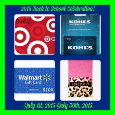 #Win 1 of 8 $100 Gift Cards for Back to School! #Giveaway ends 7/30.