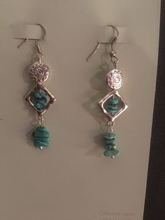 made by K.Capdevielle Silver with turquoise Earrings