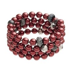 Croft & Barrow® Raspberry Beaded Coil Bracelet, Red