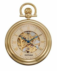 """Gotham Men's Gold-Tone 17 Jewel Exhibition Mechanical Pocket Watch with Built-In Stand # GWC14055G Gotham. $59.95. Includes matching 15"""" curb pocket watch chain with spring ring attachment. Beautiful exhibition case back showing all moving parts. Rich antique style blue cobalt hour, minute and seconds hands plus scratch resistant mineral crystal. Classic and elegant gold-tone 17 jewel mechanical open face exhibition pocket watch with Roman numeral dial. Arrives in beautiful gi..."""