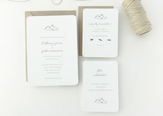 Mountains Wedding Invitation | Classic, timeless letterpress wedding invitations from August + White | Simple Wedding Invitation | Wedding Invites | Save the Dates | Wedding Stationery