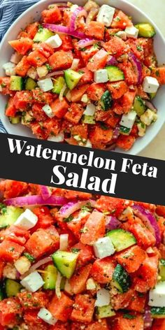 This refreshing Watermelon Feta Salad with mint is a cool and easy side dish recipe for summer cookouts and picnics. Sweet watermelon, crunchy cucumbers, salty feta, pungent onions and fresh mint all come together for an explosion of flavors that everyone will love!