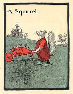 Antique Child's Word A Squirrel  by kelleystreetvintage on Etsy, $9.50