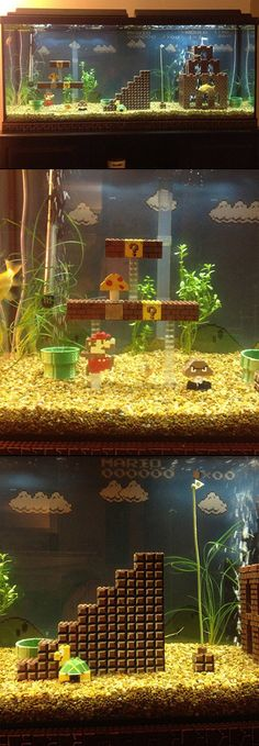 This might be the best place to live if you are a fish. This beauty of a tank setup was created by Cedrick Bears with the use of LEGO technology. I have to do this for my Jordi! Fish Tank Themes, Aquarium Decorations, Aquarium Ideas, Aquarium Design, Lego Super Mario, Cool Fish Tanks, Ideas Hogar, Paludarium, Best Places To Live