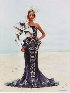 Battle ready Photo ofEmina Cunmulaj, in Christian Dior, by Arthur Elgort for Vogue Germany