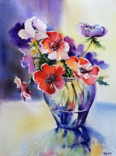 Watercolor Pictures, Watercolor And Ink, Watercolour Painting, Watercolor Flowers, Watercolors, Painting Courses, Arte Floral, Online Painting, Abstract Flowers