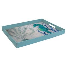 Frame a coastal-chic vignette or cluster of pillar candles with this lovely tray, featuring a seahorse motif and blue finish.   Prod...