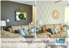 How to paint a diamond accent wall.  Using  ScotchBlue™ Painter's Tape for Multi-Surface with Advanced Edge-Lock - TheFrugalHomemaker.com