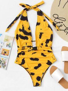 ba97fd0b3adaa deep plunge halter one piece swimsuit.  swimwear  beachwear  women  fashion  One