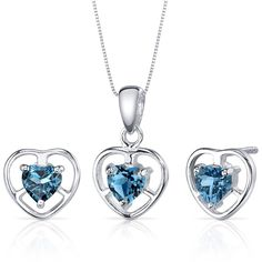 London Blue Topaz Pendant Earrings Necklace Set Sterling Silver Heart Shape 1.50 Carats >>> Be sure to check out this awesome product. (This is an Amazon Affiliate link and I receive a commission for the sales)