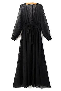 Dotted Sheer Chiffon Maxi Dress