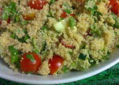Quinoa Cucumber Salad recipe: with cucumber, green onions, parsley, garlic, cherry tomatoes, ginger and apple cider vinegar