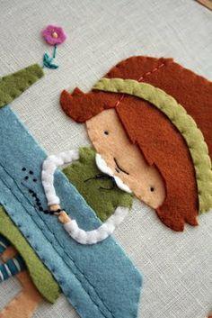 Felt on embroidery hoop