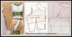 Para realizar un modelo similar, debemos modificar el patrón base como indico. El material necesario: debes calcular la gasa, seda.. que va sobre otra tela con más textura que servirá de base para el