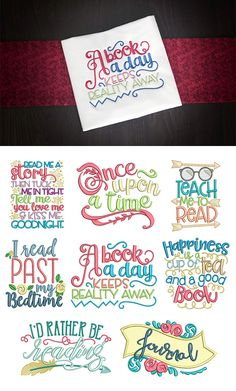 8 more cute reading word art quotes! Reading Word Art Set 2 design set available for instant download at designsbyjuju.com