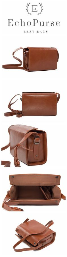 Handmade PU Leather Mirrorless DSLR Camera Bag, Brown SLR Camera Case 189 #DslrCameras