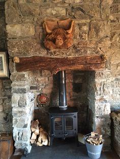 ~Skye of the Highlands~Charnwood Island 1 stove in Scottish cottage stone fireplace Inglenook Fireplace, Rustic Fireplaces, Farmhouse Fireplace, Fireplace Hearth, Stove Fireplace, Fireplace Design, Primitive Fireplace, Wood Stove Surround, Wood Stove Hearth